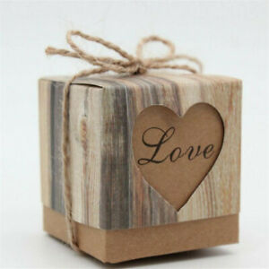 10pcs Retro Kraft Paper Heart Square Gift Candy Bags Wedding Favour Gifts Boxes