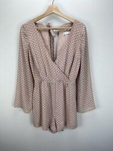 Kookai Pink Polka Dot  V-Neck Long Sleeve Open Back Playsuit - Size 36 /8 Aus
