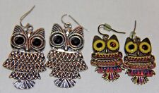 articulating owl earrings  two pair fashion jewelry