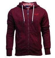 Superdry Mens New Orange Label Zip Through Hoody Cranberry Grit Burgundy