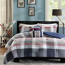 NEW! ~ BEAUTIFUL SPORTY MODERN GREY BLUE NAVY RED WHITE PLAID SOFT COMFORTER SET