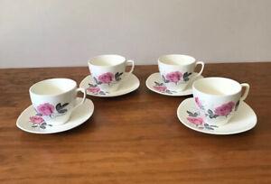 Sovereign Pottery JOHNSON AUSTRALIA Tea Cups & Saucers Pink Rose Design X 4