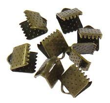 Lot 20 Embout Ruban Bronze 8mm x 6mm Griffe Metal a Ecraser Serre Ruban