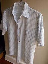 Vtg. Men's Buttoned Short Sleeve One-Pocket Shirt, White w/ Blue Stripe, Poly, S