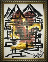 ORIGINAL Malerei PAINTING abstract abstrakt lanscape landschaft gold zeichnung c