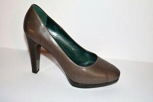 HUGO BOSS Brand Light Grey Leather Classic Pump Heels Size 38 LIKE NEW