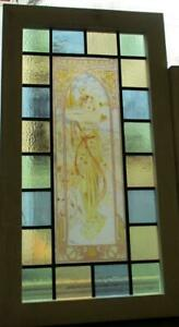 """OLD ENGLISH LEADED STAINED GLASS WINDOW. Painted Art Nouveau Lady 14.75"""" x 26.5"""""""