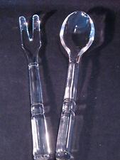 "Art Deco Bevelled Glass Set of Salad Fork & Spoon 6 Panel 10 1/4"" Servers  - EUC"