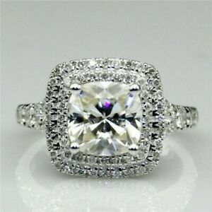 Solid 14K White Gold Engagement Ring Double Halo 3 CT white Cushion Cut Diamond