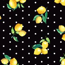 FS443 Lemon Polka Dots Black & White Print High Quality Jersey Scuba Fabric