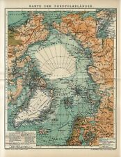 1912 ARCTIC NORTH POLE GREENLAND ICELAND RUSSIA CANADA ALASKA Antique Map dated