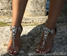 Silver Clear Gemstone Embellished T-Strap Open Toe Heels, US 6-11