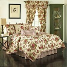 4P Waverly Norfolk Full Queen Cotton Quilt Set Reverses Tea Stain Red Floral Nip