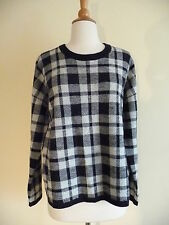 NEW MADEWELL PLAID BUTTON-BACK SWEATER, SZ L, F9717, NIGHTVISION, $98