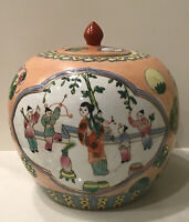 Verte Chinese Large Ginger Jar Hand Painted Famille Scene Flowers