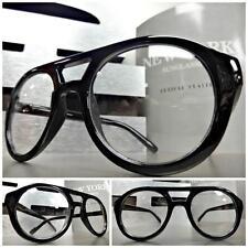 Men's Women VINTAGE RETRO Style Clear Lens EYE GLASSES ROUND BLACK FASHION FRAME