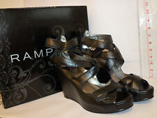 Rampage New Womens Brooks Black 8 H Strappy Wedges Heels Shoes