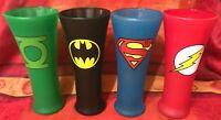 DC COMICS TM  SET  GLASS JUSTICE LEAGUE BATMAN SUPERMAN FLASH GREEN LANTERN X 4