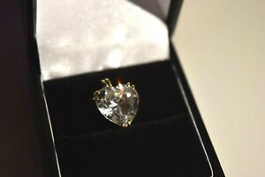 9ct Yellow Gold Heart Shaped Cubic Zirconia Pendant