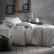 100% Cotton Reversible Stripes & Spots Natural Linen Duvet Quilt Cover Bed Set