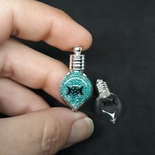 WITCHES BOTTLE GLASS TRIPLE MOON PENDANT WICCAN PAGAN AMULET VIAL