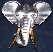 VINTAGE STUNNING GOLD SILVER TONE ELEPHANT PIN BROOCH~ SIGNED: JJ