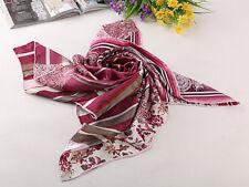 "Large Square Silk Jacquard Scarf 36""x36"" (90x90cm) Maroon SBD003"
