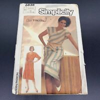 Simplicity Vintage Sewing Pattern #6838 Misses Pullover Dress Sizes 8 10 12