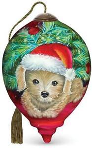 NeQwa Christmas Puppy Hand Painted Ornament