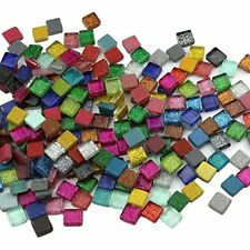 200Pcs/200g Mosaic Tiles Decoration Crafts 10MM Rectangle Mixed Color Glass New