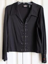 Womens Harley Davidson Sz L Black Long  Sleeve Blouse Silver Studs