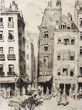 Gravure pointe sèche scène de marché France signée F. Gaal fin XIXe début XXe