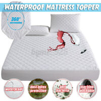 Waterproof Mattress Topper Protector Cover Pad Fibre Cotton Bedding Cove