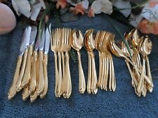 Oneida USA 18/8 Deluxe GOLDEN GOLD WHISPERING SAND SHASTA 48pcs 8 Place Sets EXC