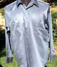 DKNY Men's Solid Blue Silk & Cotton Dress Shirt size 16 1/2