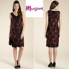 NEW Monsoon Embellished Black Lace & Pink Dress 12 Cruise~Party~Races~Ascot~Prom