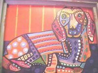 Vintage COLORFUL, ABSTRACT Print Dachshund Dog Puppy Picture SHABBY CHIC FRAME