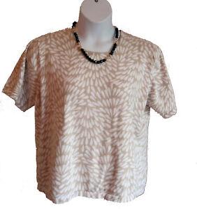 Cotton Brushstroke Sweater Plus Size 1X 14W 16W Cathy Daniels Short Sleeve Beige