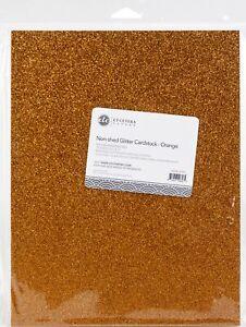 "ETC Papers Non-Shed Glitter Cardstock 8.5""X11"" 10/Pkg-Orange"