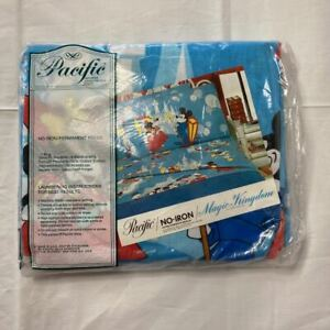 Vtg Disney Pacific Mickey Minnie Mouse Twin Fitted Sheet Only NEW Magic Kingdom