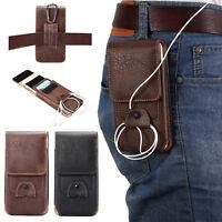 Men's Vertical Belt Clip Holster Waist Bag Leather Pouch Cover Case For Phones