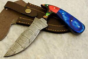 CUSTOM HAND MADE DAMASCUS STEEL BLADE HUNTING SKINNING KNIFE - # W-3314