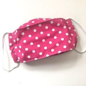 Cotton face mask Handmade cloth Pink spot Reusable origami style designer mask