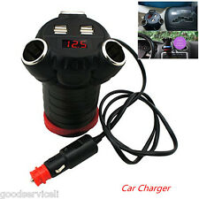 180W Car Adapter with 5A 4 USB Car Charger 3 Cigarette Lighter Ports Cup Holder