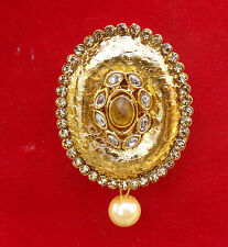 Royal Suit/sari Pin Saree Brooch k13 Indian Ethnic Fashion Jewelry Gold Tone Cz