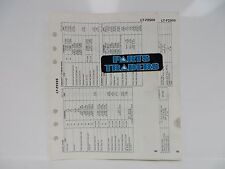 Suzuki Quick Reference Service Manual Data Sheet LT-F250S LT-F250 Quadrunner 95