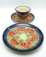 Polish Pottery House Unikat cup, saucer and side plate, poppy design, Mint cond