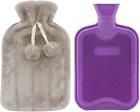 Premium Classic Rubber Hot Water Bottle & Luxurious Faux Fur Plush Fleece Cover
