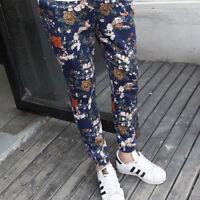 Men's Flower Hip Hop Printed Floral Harlan Pants Slim Fit Casual Trousers H984