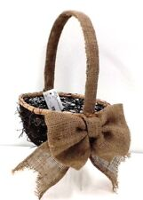 "Willow Vine Basket~Burlap Covered Handle/Bow. Moss Accent. Wire Frame.13 1/2"" H"